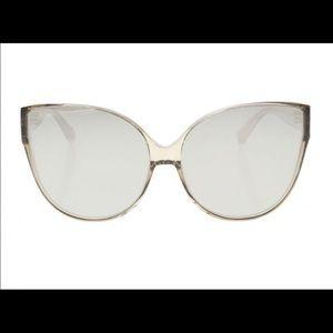 Linda Farrow white gold Cat eye sunglasses